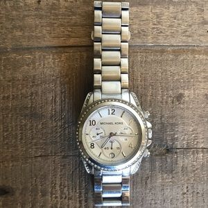Michael Kors Silver Watch w Crystal Encased Face